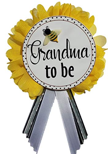 Grandma to Be Pin Baby Shower Badge Corsage Yellow Flower & Black Ribbon pin for Nona to wear Baby Sprinkle Bumble Bee