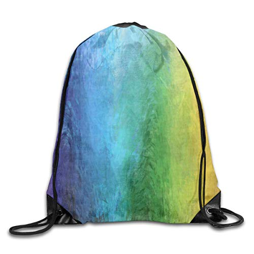 Lsjuee Abstract Striped Rainbow Drawstring Backpack Bags Adult Sport Gym School Travel String Storage Sackpack