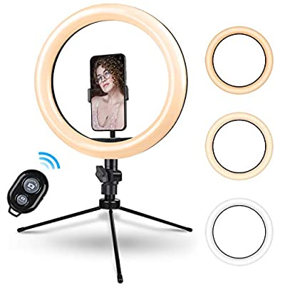10.2 Inch Ring Light with Stand - Rovtop LED Camera Selfie Light Ring with iPhone Tripod and Phone Holder for Video Photography Makeup Live Streaming from Rovtop