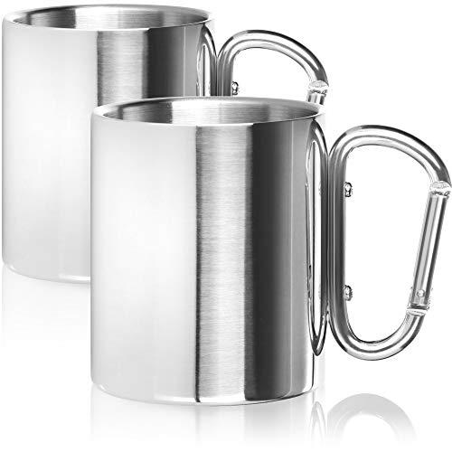 Robin Goods® 2X Edelstahl-Thermobecher mit Karabinergriff - 280 ml je Kaffeetasse - Thermo-Trinkbecher aus hochwertigem Edelstahl - Kaffeepott bruchsicher - doppelwandige Isolierbecher - BPA-frei