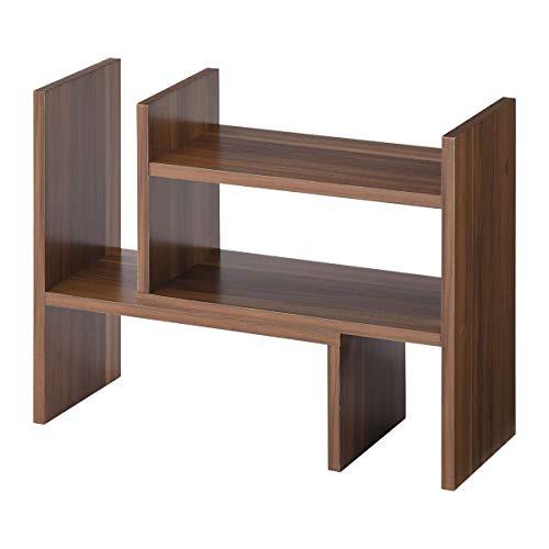 ぼん家具 卓上ラック 木製 スパイスラック マルチラック デスク上置き棚 伸縮 棚 2段 卓上棚 キッチン 幅40 ウォールナット