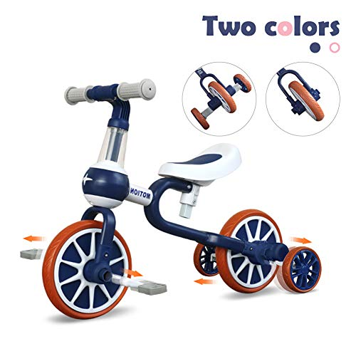 3 in 1 Baby Balance Bike for 1-4 Years Old Kids with Detachable Pedal and Training Wheels | Toys for 2 Year Old Boys Girls | Infant Toddler Bicycle Best First Birthday New Year Blue
