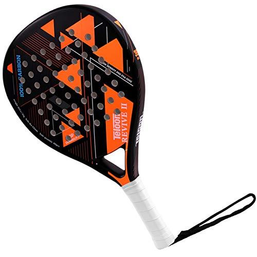 MLPNJ Raqueta de Tenis Teloon Padel Raquetas de Playa Raqueta de pádel de Fibra de Carbono con sobregrip Cara de EVA Mujeres Hombres Raquetas de Bate de Cricket