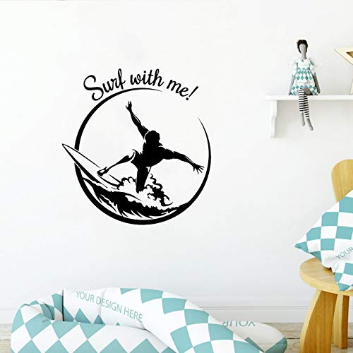 SUPWALS Surf Wall Decal Extreme Sport Teen Room Decoration Motivational Surfing Quote Vinyl Wall Stickers Livingroom Home Decor
