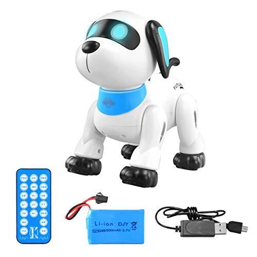 bestshop Smart Puppy, Ferngesteuerter Hund, RC Robotic Stunt Welpe Sprachsteuerung Spielzeug Handstand Push-up Elektronische Haustiere Tanzen Programmierbarer Roboter mit Sound für Kinder