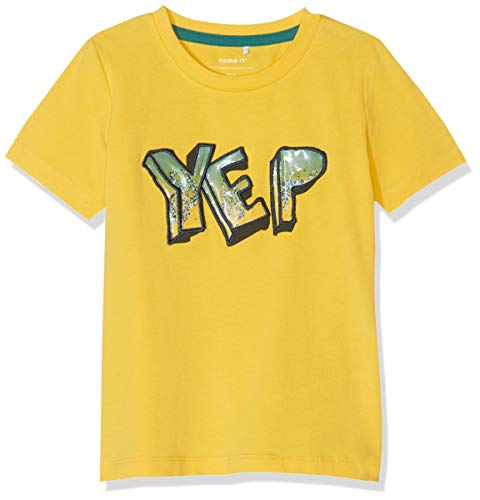 Name It Nmmhukko SS Top T- T-Shirt, Jaune Daffodil, 92 Bébé garçon