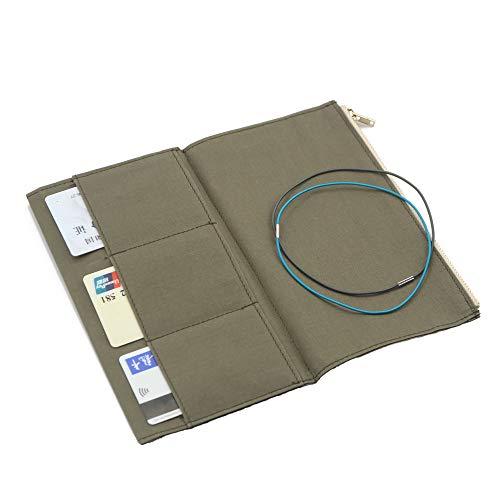 Dwpetzo Leinen-Einsatztasche mit Reißverschluss für TN Travelers Notebook Nachfüllzubehör Standardgröße Papierkartenhalter Aufbewahrungstasche (Standardgröße, Olivgrün)