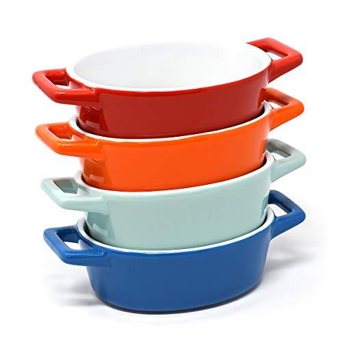 joeji's Kitchen 4er Set Mini Oval Keramik Auflaufform Set | Ideal für den Backofen, Lasagne Schüssel, kleine Auflaufform | Kleine Backschüssel in Blau, Hellblau, Rot, Orange