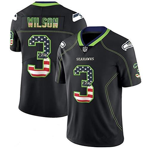 Herren T-Shirt American Football Uniform Seattle Seahawks Wilson #3 Fußballtrikot Gruby Tee Shirts Gr. 56, Bild