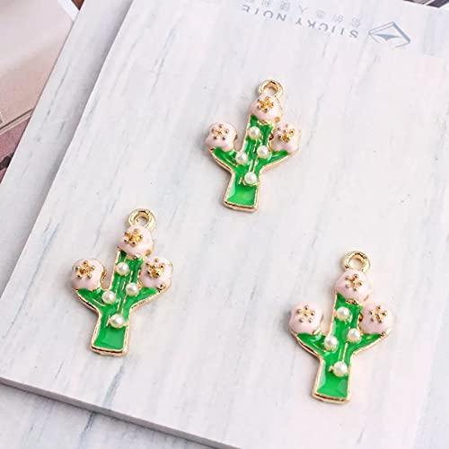 LLBBSS 5 Unids/Pack Colgante De Aleación De Encantos De Esmalte De Perlas De Cactus Verde Apto para Pulsera Accesorios De Bricolaje