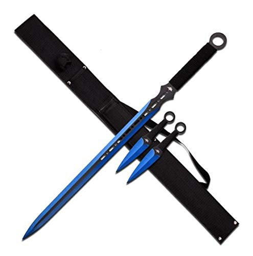 """FM-644RD-MC Fantasy Master Fm-644Rd Fantasy Sword, Red Blade, Includes Two Throwing Knives, 28"""" Overall"""