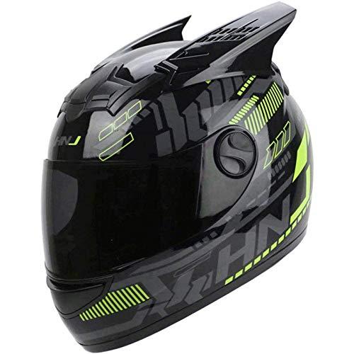 CZLWZZD Motorradsturzhelm für Erwachsene, Sport-Vollflächen-Motorrad-Helm, Straßenrollerhelme, Motorradhelm mit Herunterklappbarer Sonnenblende DOT-Zertifiziert (55-62cm)