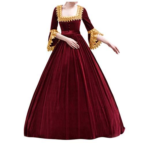SALUCIA Damen Viktorianisches Kleid Samt Trompetenärmel Bodenlanges Retro Kostüm Gewand Renaissance Mittelalter Gothic Viktorianisches Prinzessin Kleidung Gr.34-44