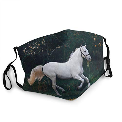 Personality Face Mask,Retro White Stallion Running Horse Galloping Motion Speed Equestrian Print,Reusable Windproof Cloth Half Face Double Protection