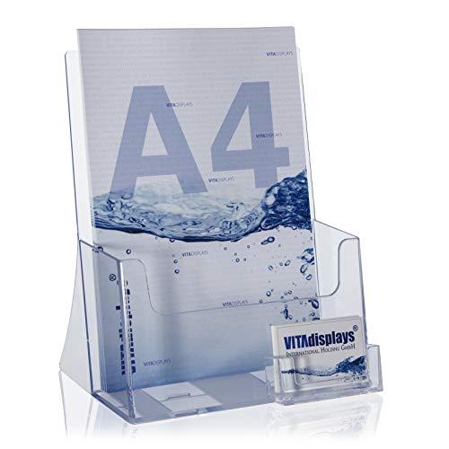 VITAdisplays® Prospektaufsteller DIN A4 mit Visitenkartenfach, Transparent (GP-230EV)