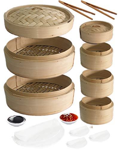 Bambus-Dampfgarer, 2-stöckig, 25,4 cm, chinesischer Lebensmittelkorb und Deckel als Set, 3 einzelne Dampfgarer und Deckel, 2 weiße Saucenschalen und Silikonpapier Ideal für Klöße, Gemüse, Huhn, Fisch