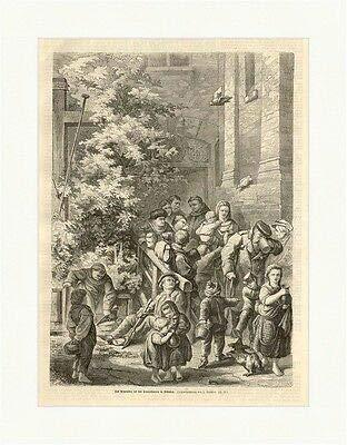 Kunstdruck Das Armenbier bei den Franziskanern in München Bier Mönche Holzstich M 709