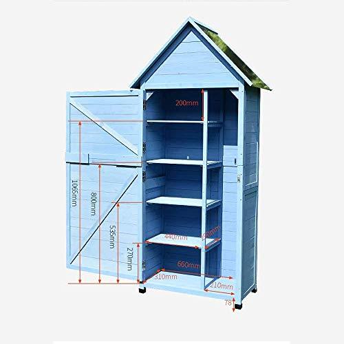 41LpBL2QLXL - Zengqhui Außen Balkon Locker Lagerschrank Garten Regenfest Sunproof Korrosionsschutz Hof Ideale Aufbewahrungsbox für den Außenbereich (Farbe : Blau, Size : 84x45x178cm)