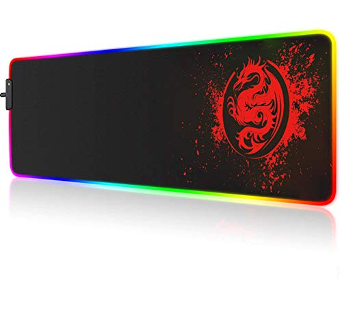 Large RGB Gaming Mouse Pad - 15 Light Modes Extended Computer Keyboard Mat, Anime Dragon Mouse Pad,High-Performance Mouse Pad Optimized for Gamer 31.5 X 12in (Red)