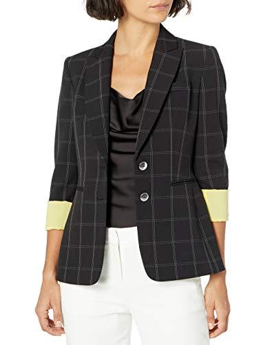 Tahari ASL Women's 2 Button Roll Sleeve Jacket, Black Windowpane, 4