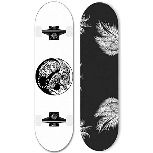 80x20cm Erwachsene Skateboard 7-Layer-Deck, Sport Double Ripridiatria mit ABEC-11-Lagern für Anfänger und Fachleute (YX-W7) geeignet-Drache Tiger