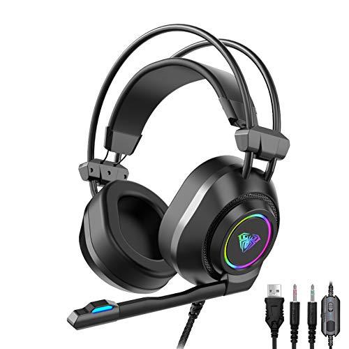 AULA S600 Auriculares Gaming con Cable, Sonido Surround, Transductores 50mm, Ruido Reducción Micrófono, Iluminación RGB, Profesional Juegos Headphones por PC Mac Computadora/Xbox One/ PS4 (USB+3.5mm)