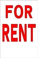シンプル縦型看板 「FOR RENT(赤)」不動産 屋外可(約H45.5cmxW30cm)