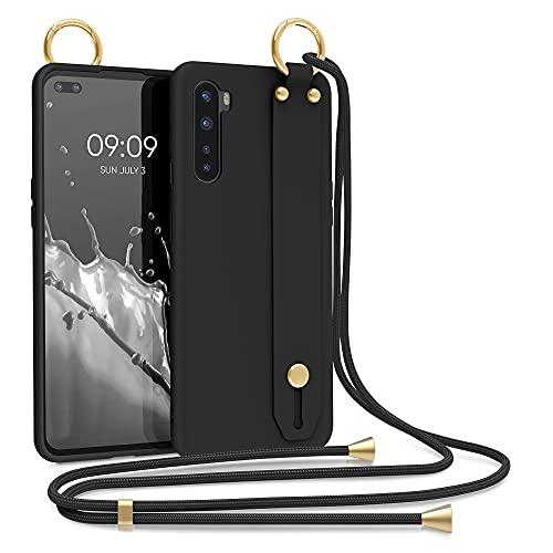 kwmobile Cover a Tracolla Compatibile con OnePlus Nord - Back Case in Silicone Nero - Custodia con Cordino e Passante Cinta