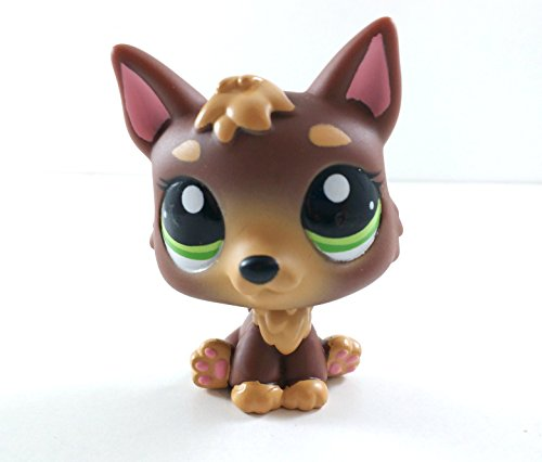 German Shepherd #2137 (Brown, Green Eyes) - Littlest Pet Shop (Retired) Collector Toy - LPS Collectible Replacement Figure - Loose (OOP Out of Package & Print)