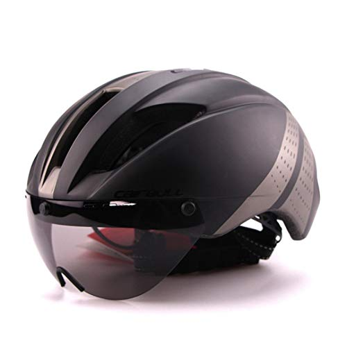 Aero Ultra-Light Goggle Road Casco de Bicicleta Casco en Molde Racing Ciclismo Bike Sports Safety Time-Trial Casco Ciclismo Black Grey M 54-57cm