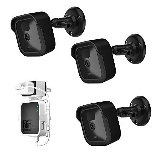 UIQELYS Soporte de montaje en pared y fundas protectoras de silicona para intermitentes exteriores/interiores (3 unidades), color negro