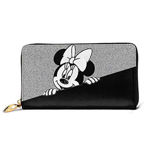Cartera de piel auténtica con cremallera para tarjetas de Mickey Minnie Mouse con diseño de Mickey Minnie Mouse