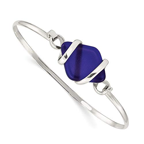 925 Sterling Silver Blue Sea Glass Bangle Bracelet Cuff Expandable Stackable Fine Jewelry For Women Gifts For Her