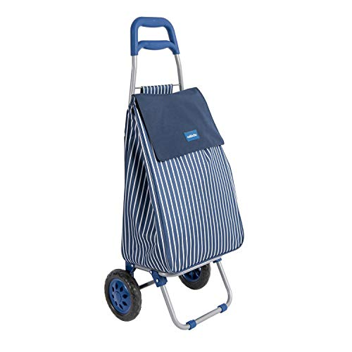 Sabichi 184177 Boucherie Blue and White Stripe 2 Wheel Shopping Trolley with Thermal Insulation Liner, 40ltr Capacity, 95 x 36.5 x 30cm