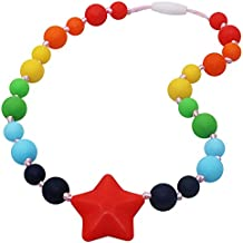 Sensory Chew Necklace for Girls, Kids, Silicone Teething Necklace for Toddler and Nursing Baby, Oral Motor Chewable Beads Jewelry for Kids with Autism, ADHD, SPD - Calms and Reduces Biting (Rainbow)