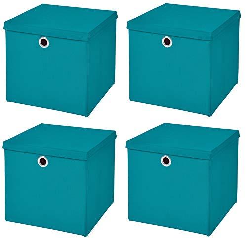 Caja de almacenaje, 28 x 28 x 28 cm, con tapa, turquesa, 4 unidades