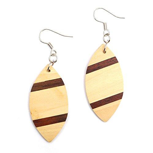 Idin Jewellery - Pendientes de gota de madera de pentágono marrón con forma de tabla de surf de dos tonos