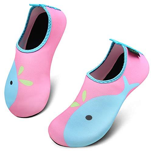 katliu Mädchen Jungen Badeschuhe Wasserschuhe Strandschuhe Schwimmschuhe Barfußschuhe Surfschuhe Aqua Schuhe für Kinder Baby(067 Rosa,28/29 EU)