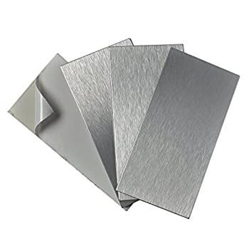 Art3d 4-Pieces Peel and Stick Stainless Steel Backsplash Tiles 3  x 6  Brushed Metal