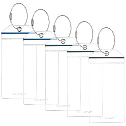 Wisdompro Cruise Luggage Tag Holders, 5-Pack Clear Waterproof PVC Pouch with Zipper & Steel Loops for Cruise Trip (Blue Zip)
