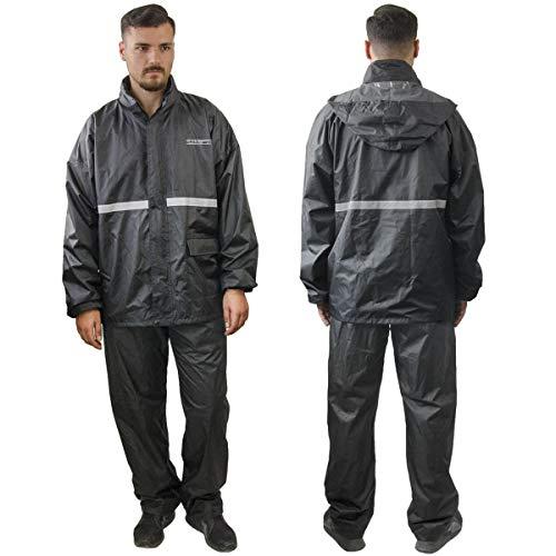 TJ MARVIN regenbescherming PRO E36 bestaande uit jas met capuchon, broek, tas M zwart.