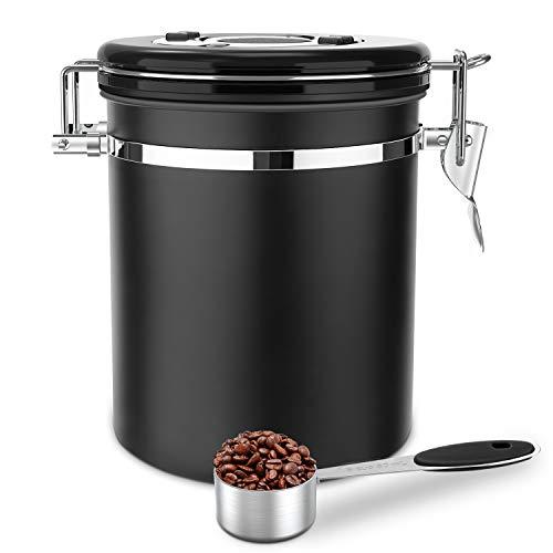Luxebell Coffee Jar 1,5 L 500g Contenitore per chicchi di caffè in acciaio inossidabile con un cucchiaio in acciaio inossidabile per caffè, tè, cacao, cereali, pasta, farina d'avena, indennità