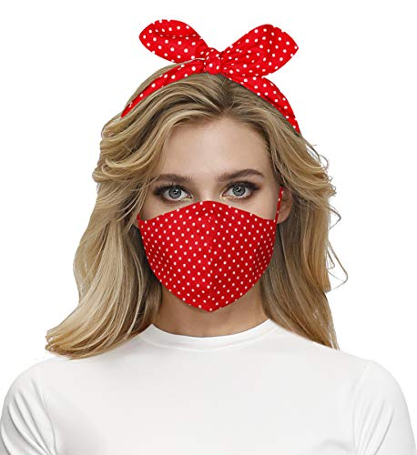 Christmas Face Mask Headband Bandana for Women Decorative Neck Gaiter Breathable Reusable Cloth Mask Washable Face Cover Red Polka Dot