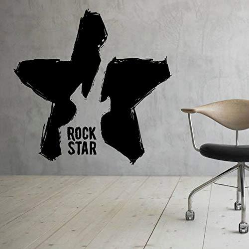Guitarra estrellas tatuajes de pared instrumento de rock estudio de música puertas y ventanas pegatinas de vinilo dormitorio adolescente decoración para el hogar papel tapiz