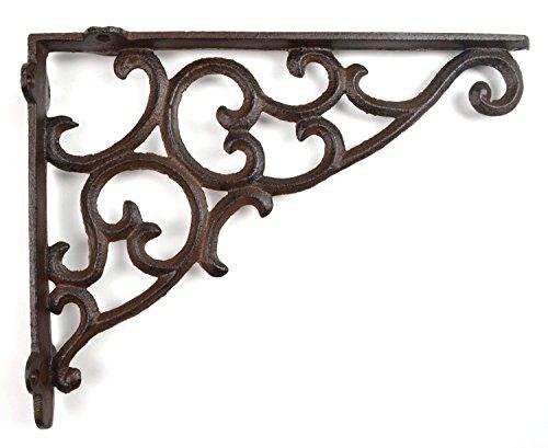 """Wall Shelf Bracket - Ornate Pattern - Cast Iron - 10.875"""""""