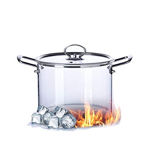 Olla de cristal transparente para pasta con tapa de cristal, olla de cocina con asa y orificio de vapor, para uso doméstico para sopa, leche, comida de bebé 3,5 l.