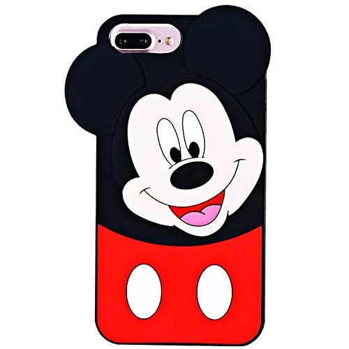 """TopSZ Case for iPhone 8 Plus/ 7 Plus /6/6S Plus 5.5"""",Cute Silicone Couple Lover 3D Cartoon Kawaii Animal Cover,Soft Skin for iPhone 8Plus,Funny Unique Character Cases for Kids Girls Teens Guys-Mickey"""