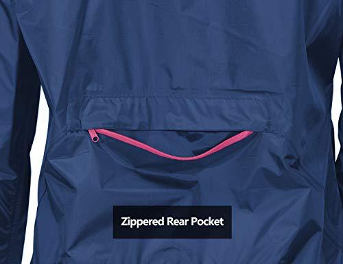 Little Donkey Andy Womens Lightweight Waterproof Cycling Running Rain Jacket Packable Windbreaker Fall Jacket Black Size XL