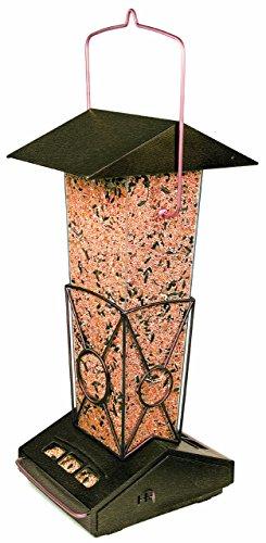 Perky-Pet Mangeoire à oiseaux Forteresse anti-écureuil - A suspendre ou à monter sur pied - Avec toit de protection et écoulement facile - Capacité max. 2,7 kg de graines #5140-2