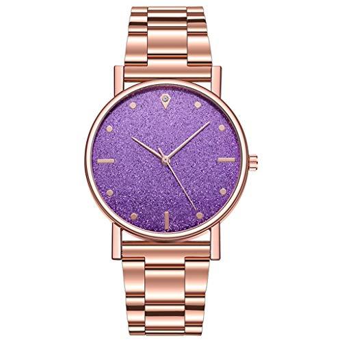 xy 2020 Moda Mujeres Steel Pulsera Relojes Lujo Diamante Estrella Estrella Dial Vestimenta Relojes Cuarzo Analógico Montre Femme Reloj Casual (Color : Large)